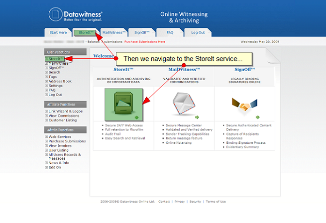 Navigate to StoreIt - Archive files online