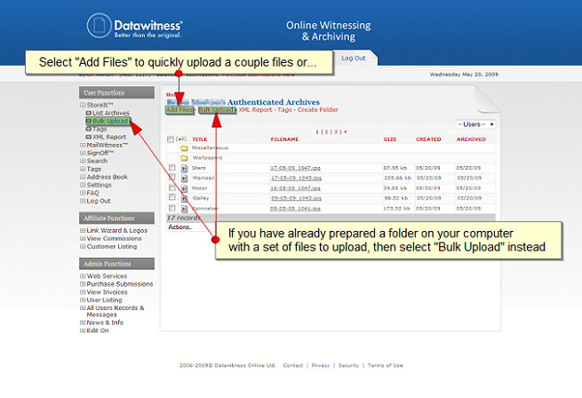 Add File - Archive files online